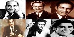 Rafi, Talat Mahmood, Mukesh, CH Atma, GM Durrani and Kishore Kumar