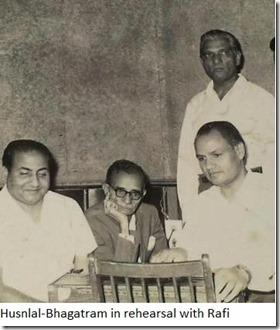 Husnlal-Bhagatram in rehearsal with Rafi